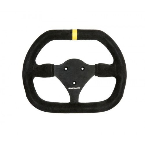 Motamec Formula Race Steering Wheel Small Double D 270mm Black Suede Black Spoke