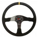 Motamec Pro Race Rally Steering Wheel Flat 3 Spoke 380mm Black Suede Black Spoke