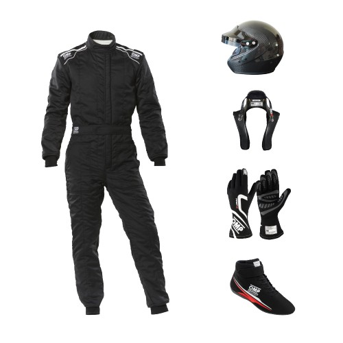 Go Racing Starter Kit Open Face Carbon Helmet bundle Black