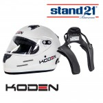 Koden Snell Approved SA2015 White Helmet with Stand 21 Club FHR Device