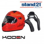 Koden Snell Approved SA2015 Orange Helmet with Stand 21 Club FHR Device